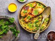 Рецепта Запържено ароматно пиле с ориз, зеленчуци и кориандър